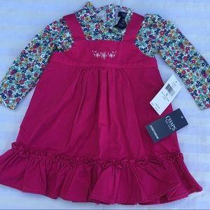 $38 Chaps Pink Ruffle Floral Jumper Dress 12M